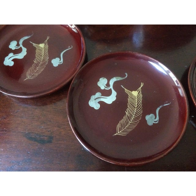 Mid-Century Japanese Kyowa Lacquered Coasters in Box - Set of 5 For Sale - Image 4 of 8