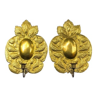 Large Brass Repousse Candle Sconces, Pair For Sale