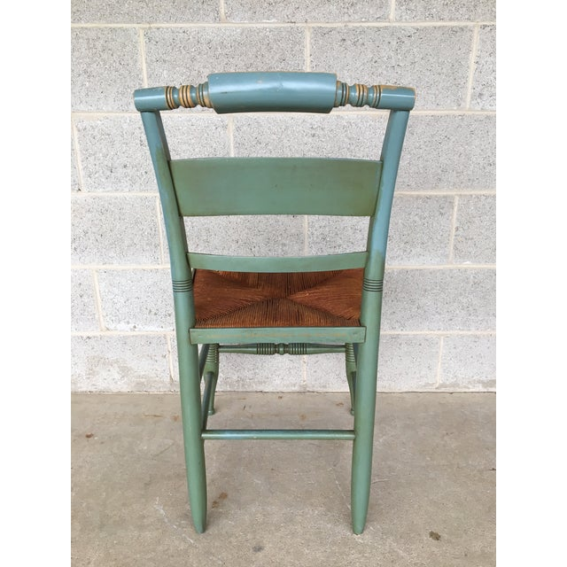 Green Vintage L. Hitchcock Slat Back & Crown Back Rush Bottom Side Chairs - Set of 6 For Sale - Image 8 of 11