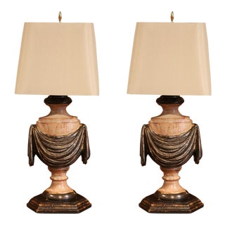Italian Carved Lamp Bases With Polychrome Antique Painted Finish - a Pair For Sale