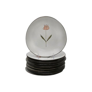 Mid-Century French Floral Stoneware Plates - Set of 10 For Sale