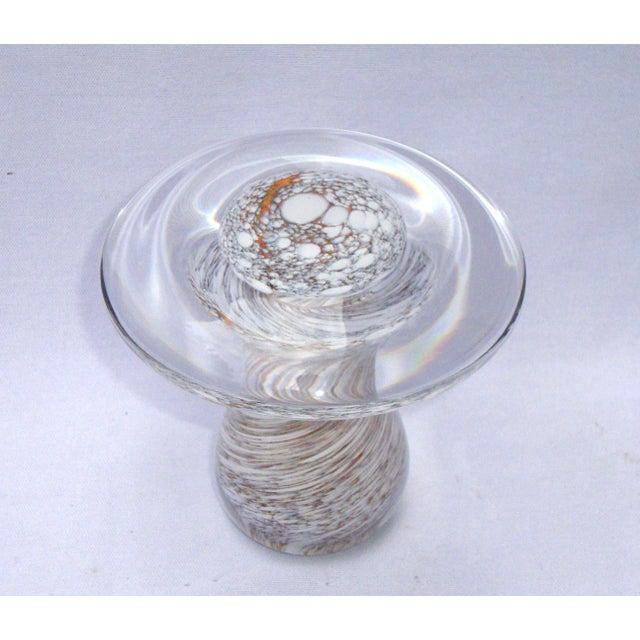 Murano Art Glass Brown White Swirl Mushroom - Image 6 of 11