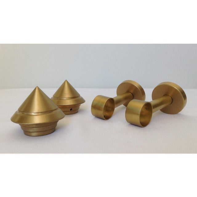 Contemporary German Solid Brushed Brass Drapery Hardware - Set of 4 For Sale - Image 3 of 11