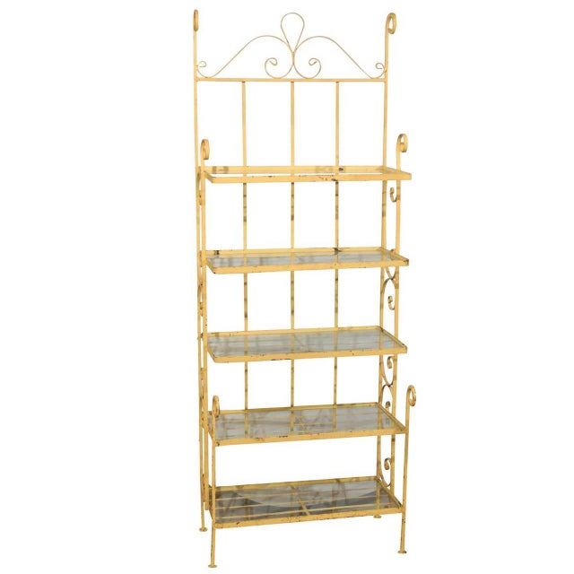 Mid-Century Yellow Iron Baker's Rack For Sale