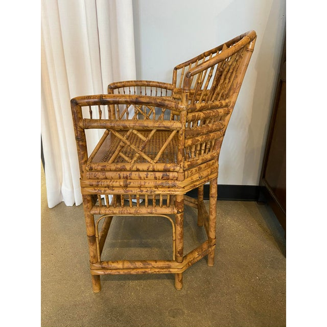 Chinoiserie Brighton Pavilion Style Chinoiserie Burnished Bamboo Armchair For Sale - Image 3 of 7