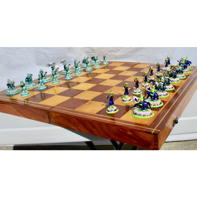 Indian Silver Enamel Mahogany Chess Set For Sale In New York - Image 6 of 11