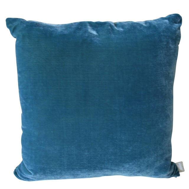 Artisan hand-dyed velvet pillow has a teal front design with a coordinating blue green back. The new take on the classic...