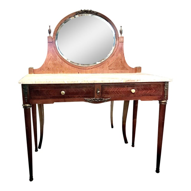 Early 20th Century French Louis XVI Style Marble Top Dressing Table or Vanity For Sale