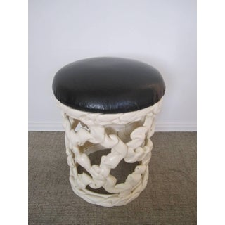 1970s Hollywood Regency Black and White Ribbon Stool Preview