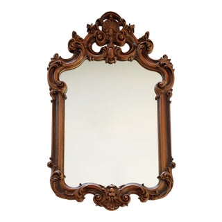 French Louis XV Rococo Hand-Carved Wooden Mirror For Sale