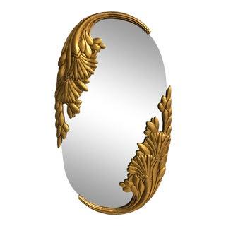 Vintage Hollywood Regency Gold Leaf Wall Mirror For Sale