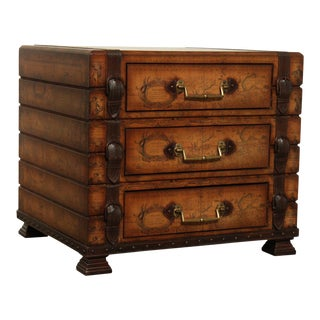 Campaign Style 3 Drawer World Map Luggage Side Chest For Sale