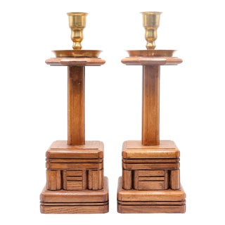 Large Brutalist Wooden Candlesticks - a Pair For Sale