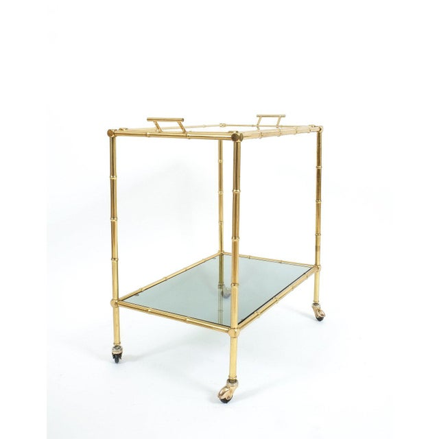 Brass Faux Bamboo Brass Bar Cart with Removable Glass Tray For Sale - Image 7 of 7