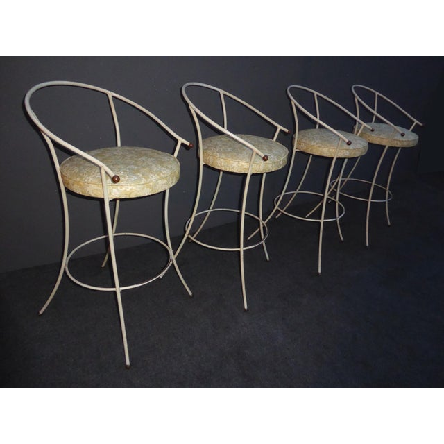 Vintage Mid-Century Modern White Wrought Iron Bar Stools- Set of 4 - Image 5 of 11
