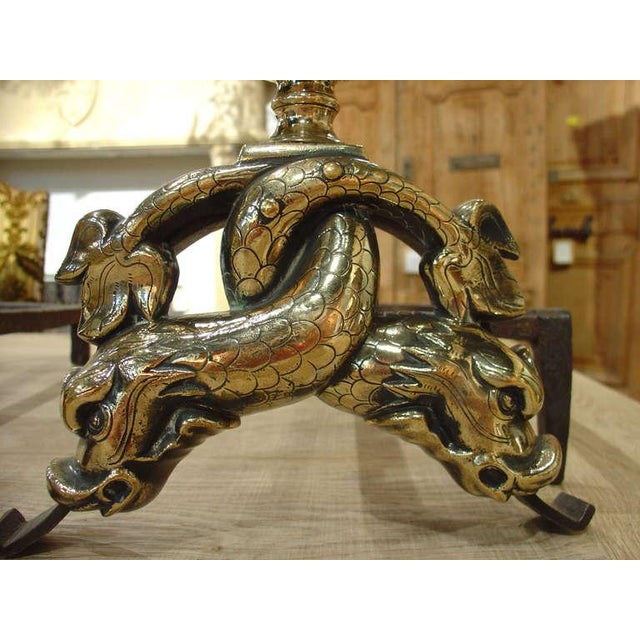 Pair of Period Louis XIV Bronze Andirons For Sale - Image 9 of 10