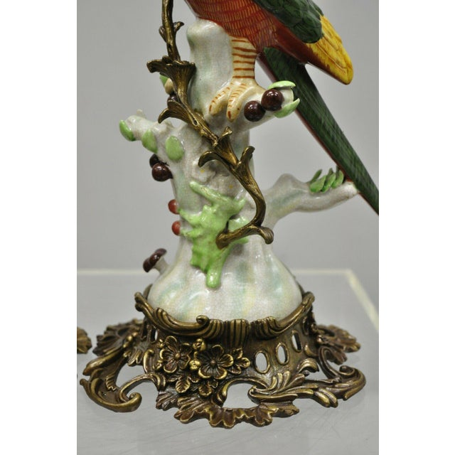 Metal French Green & Yellow Parrot Candlestick Candle Holders-a Pair For Sale - Image 7 of 11