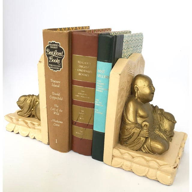 Gold Vintage Chinese Smiling Buddha bookends - A Pair For Sale - Image 8 of 11