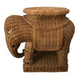 Image of 1960s Wicker Elephant Side Table For Sale