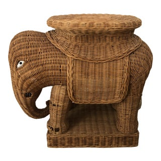 1960s Wicker Elephant Side Table For Sale