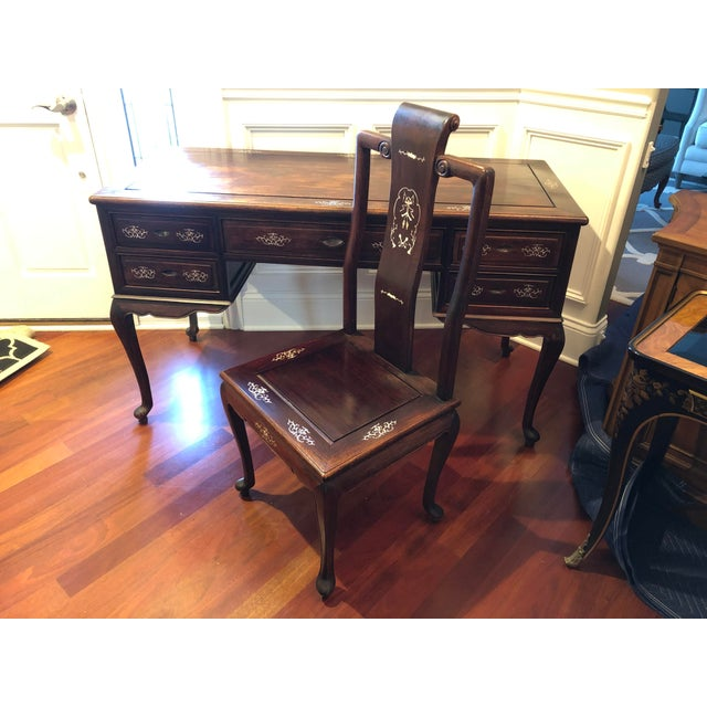 1980's Chinese Rosewood Desk & Chair - 2 Pieces For Sale - Image 10 of 10