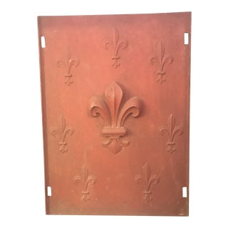 Antique French Cast Iron Fireback Fleur De Lis For Sale