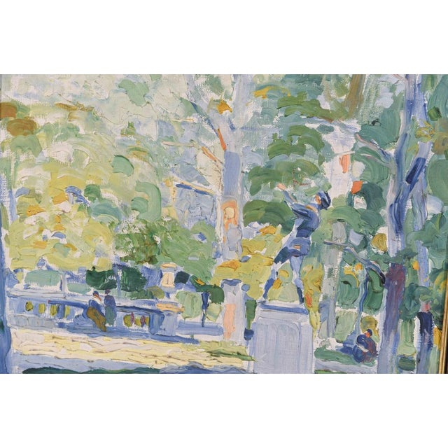 Impressionist Park Scene Oil Painting on Canvas For Sale - Image 4 of 8