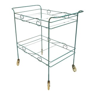 1950s Mid Century Modern Scrolled Wrought Iron Bar Cart For Sale