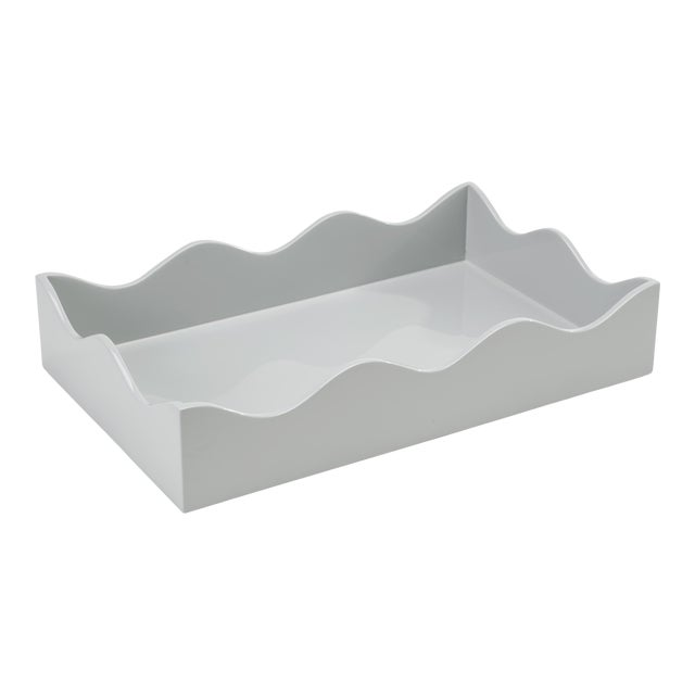 Rita Konig Collection Medium Belles Rives Tray in Pale Grey For Sale