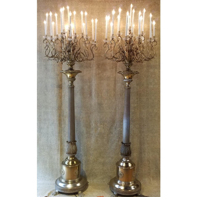 Traditional Antique Bronze Palace Chandelier Floor Lamps - A Pair For Sale - Image 3 of 10