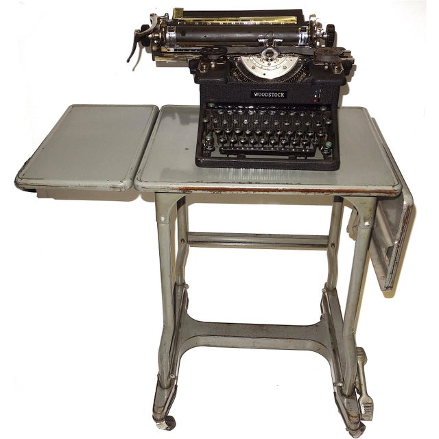 Early 20th Century Typewriter, on Steel Dual Drop Leaf Rolling Typewriter Table For Sale - Image 11 of 11