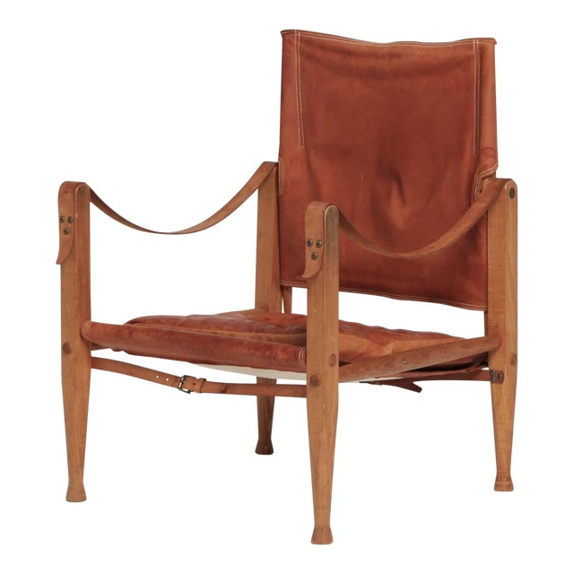 Kaare Klint Safari Chair in Patinated Tan Leather, Rud Rasmussen, Denmark, 1960s For Sale