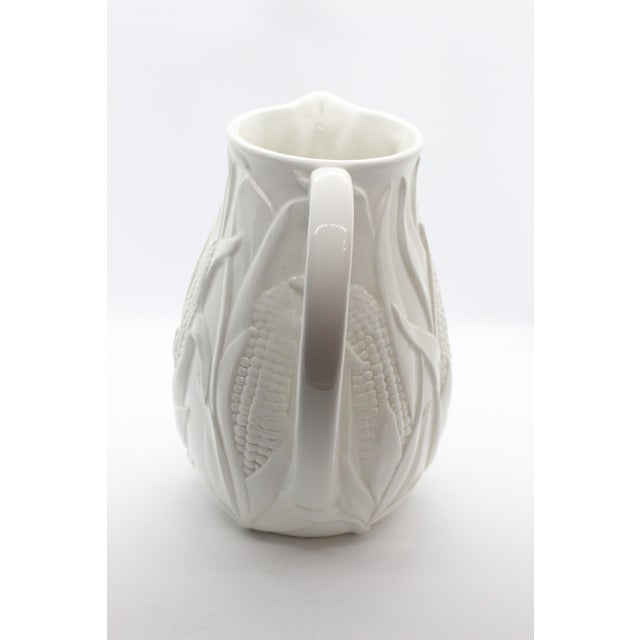 1980s Italian White Ceramic Corn Field Majolica Pitcher For Sale - Image 4 of 8