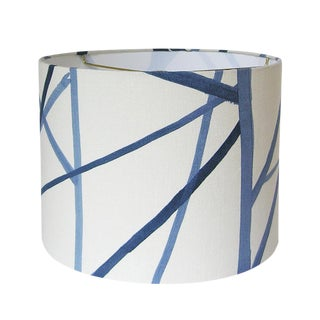 New, Made to Order, Channels Fabric in Periwinkle, Small Drum lampshade For Sale