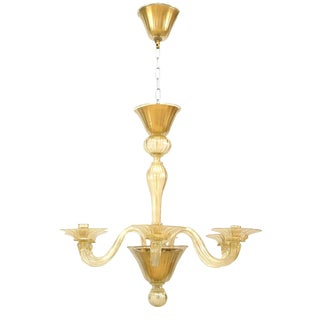 "1990s Italian Murano ""Soffiati"" Gold Dusted Glass Chandeliers For Sale"