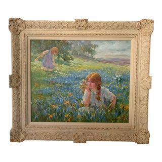"""Late 20th Century """"Girls in Meadow"""" Oil Painting by Lynn Gertenbach, Framed For Sale"""