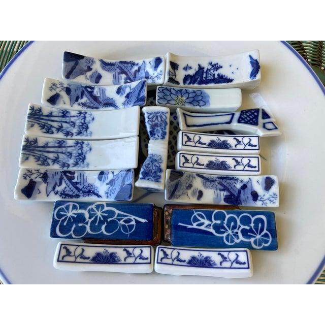 Japanese Blue & White Porcelain Knife Rests - Set of 16 For Sale - Image 3 of 11