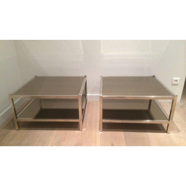 Pair of Large Chrome Side Tables with Bronzed Mirrors - Image 2 of 11