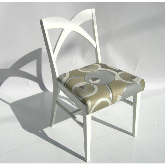 White Modernage Glass Dining Table With Chairs For Sale - Image 8 of 9
