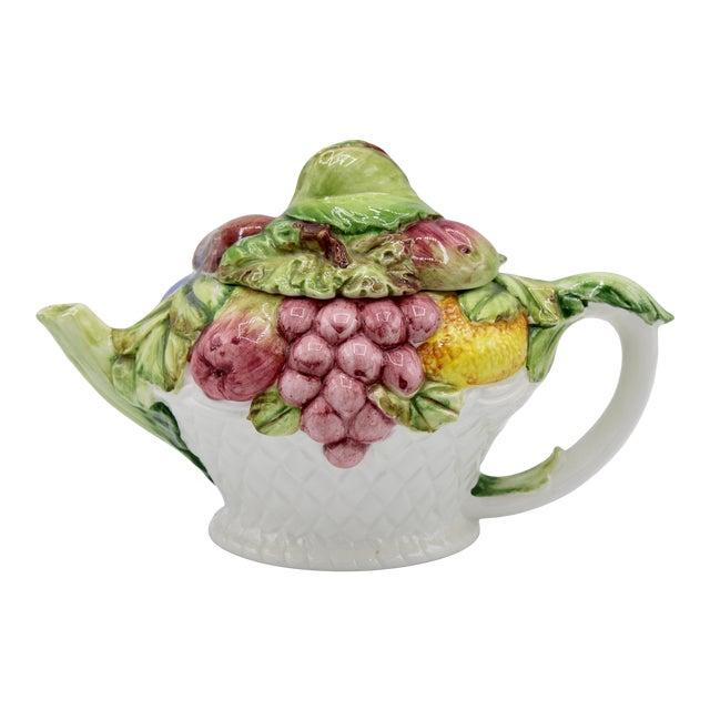 Vintage Italian Ceramic Fruit Teapot For Sale