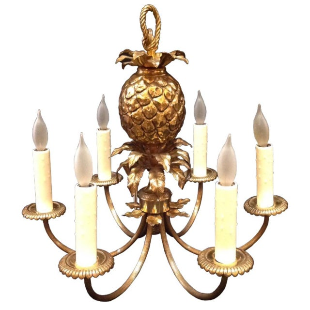 Brass 1960's Maison Charles Brass Pineapple Chandelier For Sale - Image 8 of 8