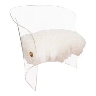 Single Barrel-Back Lucite Chair For Sale