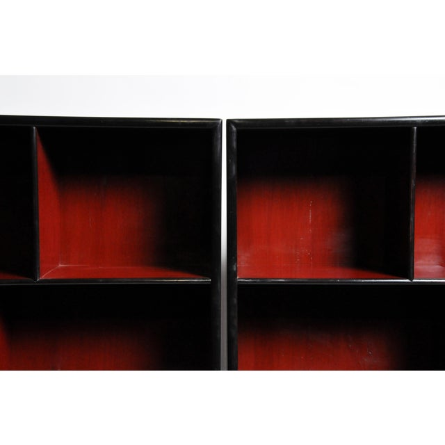 Ceramic Pair of Chinese Scholar's Display Cabinet For Sale - Image 7 of 13
