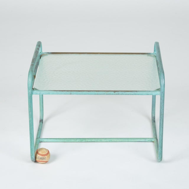 Bronze End Table With Hammered Glass Top by Walter Lamb for Brown Jordan For Sale - Image 11 of 13