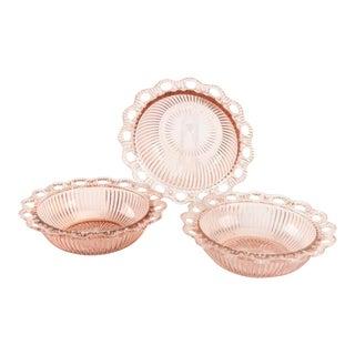 Vintage Anchor Hocking Lace Edge Pink Depression Glass Bowls - Set of 3 For Sale