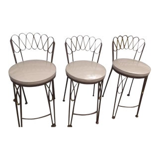 Arthur Umanoff Style Metal Bar Stools For Sale