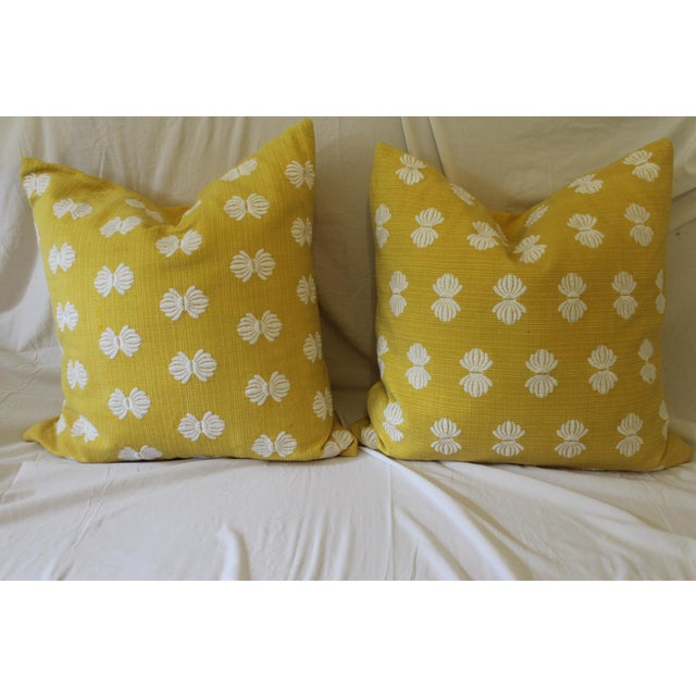 Yellow and White Pillows- A Pair For Sale - Image 9 of 9