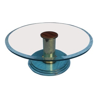 Leon Rosen for Pace Collection Mid-Century Brass & Glass Swivel Coffee Table For Sale