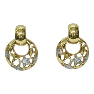 1980s Givenchy Gold With Crystal Star Accent Earrings For Sale