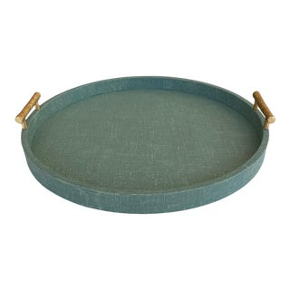 Large Green Linen Wrapped Round Tray With Gold Handles For Sale